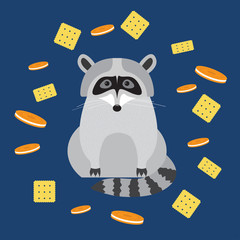 funny cartoon cute raccoon and cookie isolated on blue
