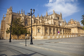 West facade of the Sevilla's Cathedral at a summer day. Spain