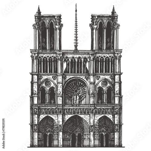 Leinwanddruck Bild France, Paris, the architecture on a white background. sketch