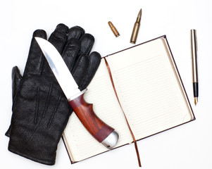 Gloves and knife