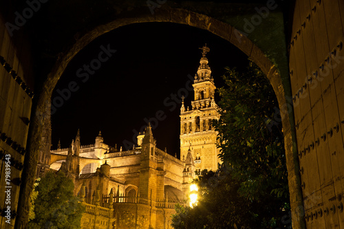 The Giralda of Seville illuminated at night, Spain