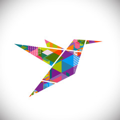 Humming bird symbol with colorful geometric graphic concept