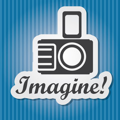 "Vintage paper-style vector illustration of camera and word ""Imag"