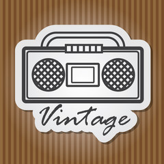 Paper-style vector vintage illustration of vintage player with w