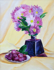 A bouquet of flowers in a vase with grapes. Oil painting.