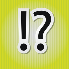 Paper-style vector vintage illustration of question and exclamat