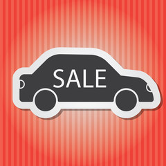 Illustration of vintage vector paper-style sale car