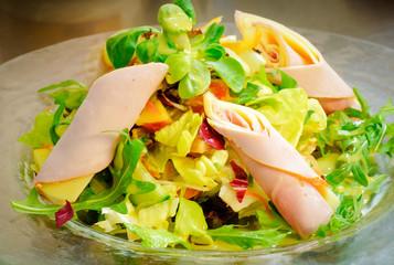 Ernährung - leichte Kost, bunter Salat mit Kochschinken