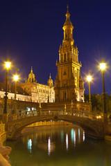 Plaza de España in Sevilla at night, Spain