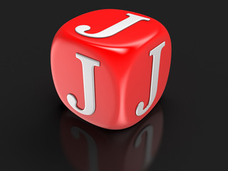 Dice with letter J (clipping path included)