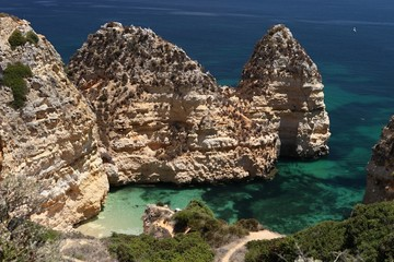 beautiful rock formations on the coast of the Algarve, Portugal