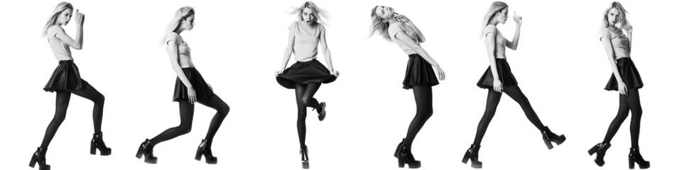 Fashion girl model posing on white background