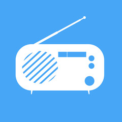 Illustration vintage radio on blue background.