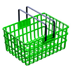 Green shopping basket isolated on white background