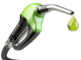 Green fuel pump nozzle with drop oil.