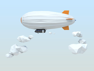 3D low poly style blimp floating in the sky