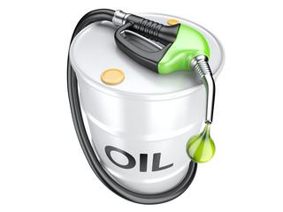 Bio fuel concept with oil barrel and gas pump nozzle.