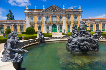 The ceremonial facade of the corps de logis. Queluz, Portugal