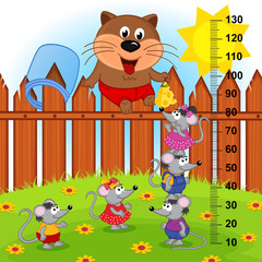 cat on fence height measure (in original proportions 1 to 4)