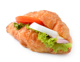 croissant sandwich isolated on white background