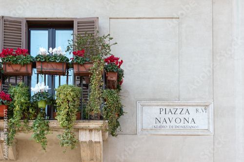 Papiers peints Rome Piazza Navona sign on historic italian building in Rome