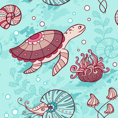 Seamless pattern with turtle and nautilus