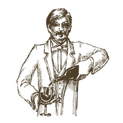 wine, sommelier on a white background. sketch