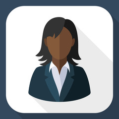 Black female user icon with long shadow