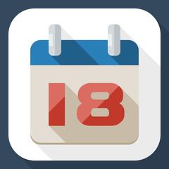 Calendar icon with long shadow
