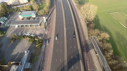 Aerial view of a truck and other traffic driving along a road on