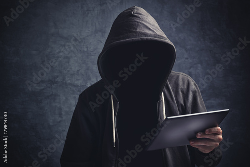 Anonymous unrecognizable man with digital tablet computer - 79844730