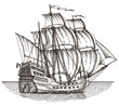 ship on a white background. sketch. illustration - 79844985