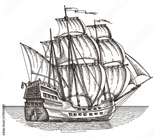 Staande foto Zeilen ship on a white background. sketch. illustration