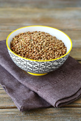 Green lentils in a bowl