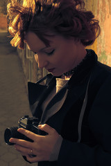 Retro portrait red haired women  vintage coat