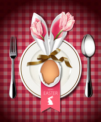 Vector illustrator of Easter table setting.