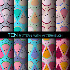 ten color background design pattern with watermelon