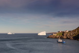Iceberg, Fishing Boat and Lighthouse