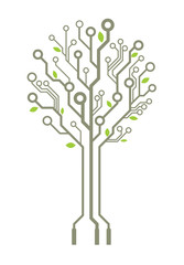 Vector circuit board tree with leaves