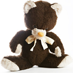 An old teddy bear on the white background