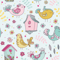 Cute Birds and Birds Houses Background - Seamless Pattern