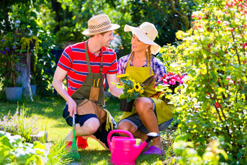 Paar planzt Blumen im Garten