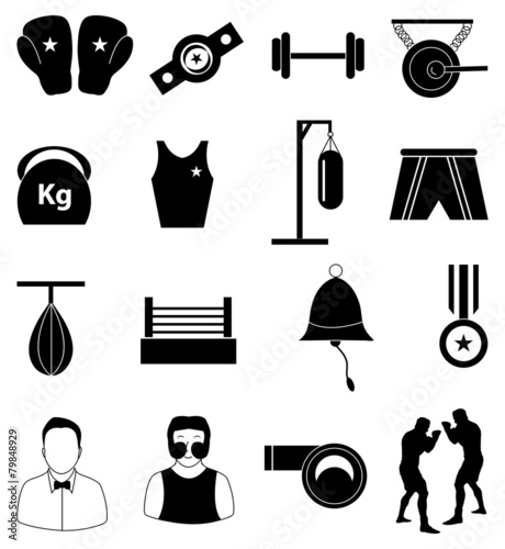 Boxing icons set - 79848929