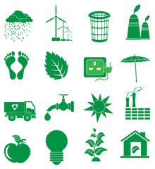 Green ecology icons set