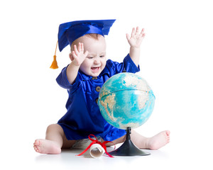 baby in academician clothes with globe isolated