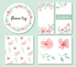 Flowers and leaves design set - 79849571