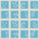 Seamless background with Rongorongo glyphs poster