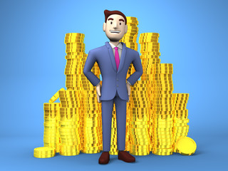 Smile Businessman With Coins On Blue Background