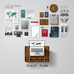 Infographic travel business flat lay idea. Vector illustration
