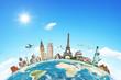 Leinwanddruck Bild - Illustration of famous monument of the world